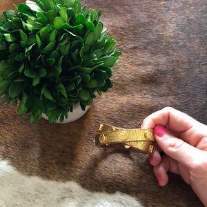 Tory Burch Gold Leather Double Wrap Bracelet